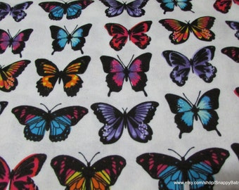 Flannel Fabric - Butterfly Stripe  - By the yard - 100% Cotton Flannel