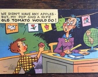Vintage Humorous Teacher Postcard / Cartoon / Tichnor Quality Views / Boston, Mass.
