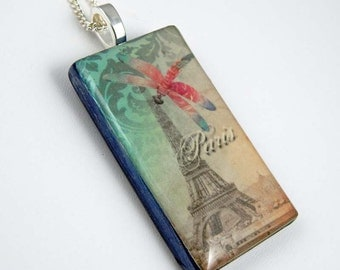 Polymer Clay Pendant; Dragonfly Pendant; Digital Image Transfer Pendant. Eiffel Tower Image. Dragonfly Image