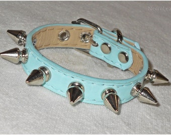 Baby Blue Spiked Cuff Bracelet in Faux Leather