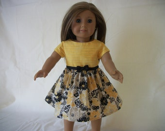 """Handmade for 18"""" Doll - Yellow/Black Floral Casual Dress - 18"""" Doll Dress - 18"""" Doll Clothes"""