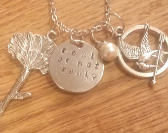 Everlark hand stamped necklace-Katniss Everdeen and Peeta Mellark