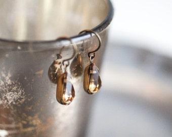 Vintage tear Drop Earrings in topaz