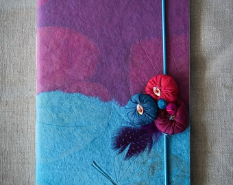 Notebook, customised, blue & violet, hand made