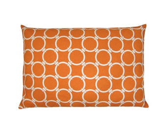 Cushion cover LINKED orange natural ring patterns graphically geometric 40 x 60 cm