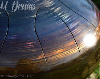 AM Drum - steel tongue hank tank drum - custom made - shimmering steel finish - handpan