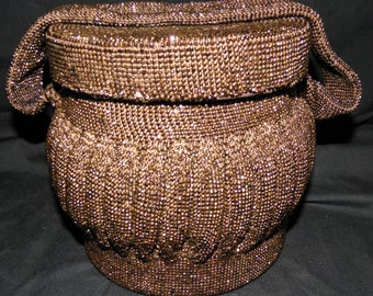 Vintage ART DECO Brown/Bronzed Beaded Circle or Snake Charmer PURSE