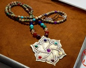 "Beaded Necklace, ""Chaka Compass"" Handmade Brass and Copper Lotus Pendant 108 Mala with Chakra Stones and Brazilian Opal"
