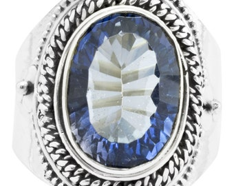 Blue Mystic Quartz Ring Solid 925 Sterling Silver Jewelry Size 6.75 EBR1120