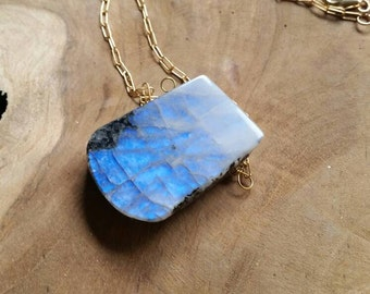 Large Moonstone Pendant and Gold Filled Chain