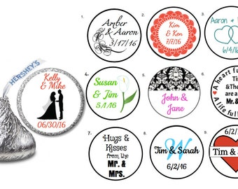 108 Personalized Wedding Labels Candy / Hershey Kiss / Favors/ Envelope Seal