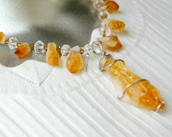 Rough Citrine Points with Faceted Quartz and Swarovski Crystals with Sterling Silver