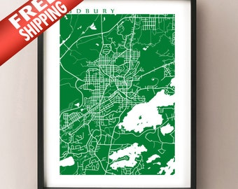 Sudbury Map Print - Ontario poster art