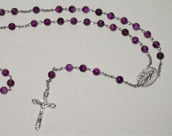 Stainless Steel/Genuine Amethyst Bead Rosaries