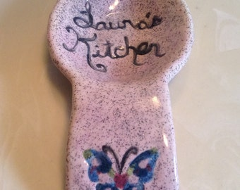 """Ladle Rest with """"Laura's Kitchen""""  Engraved on it.  With Shimmer Glazes and Butterfly"""