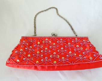 Vintage Evening Purse, Red Beaded Evening Purse