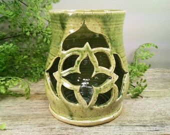 SALE - Large Light Green Geometric Design Luminary - Hand Carved and Wheel Thrown Candle Holder / Lantern