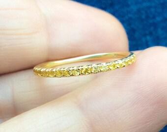 14K Sapphire Eternity Band 1.6mm 14K Pave Yellow Sapphire Full Eternity Ring 14K Sapphire Matching Eternity Yellow Sapphire Ring Infinity