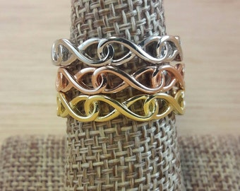Infinity Ring Sterling Silver Vermeil Gold Rose Gold Infinite Infinity Ring