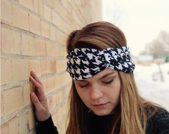 Black and White Houndstooth Turban