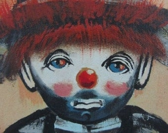Mid century modern original signed oster oil on canvas painting clown/bum