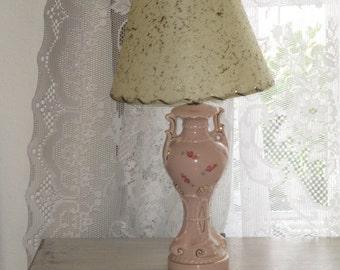 Small Mid Century Lamp with fiberglass lamp shade