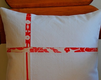 """Envelope pillow cover, Cushion cover, red and white pillow, modern pillow cover, with Anna Maria Horner fabric, 16"""""""
