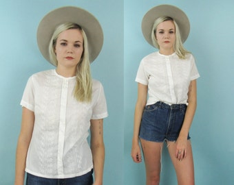 70s White Cotton Blouse