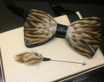 Feather bow tie: The Leopard Mallard