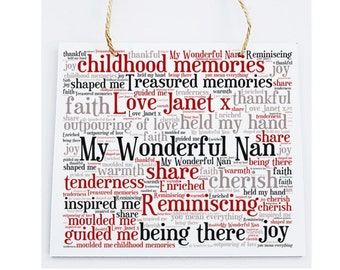 Personalised Grandmother Word Art Plaque -  My Wonderful Nan.  Free Standing/Wall Hanging
