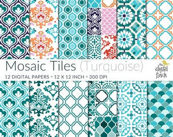 "Mosaic Tile Digital Papers in Turquoise - Moroccan - Persian - scrapbooking paper - 12x12"" - 300 dpi - instant download - commercial use"