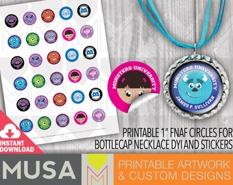 """INSTANT DOWNLOAD / MONSTERS /1"""" images for bottlecap necklaces / stickers / favors"""