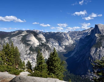 Yosemite Half Dome Glacier Point Photography - National Park Scenic Panorama Trail Forest Mountains Landscape Fine Art Print
