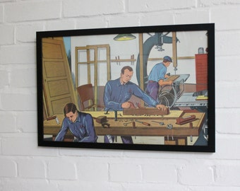 Vintage French Workwear Industrial Scene Framed Poster Circa 1940's