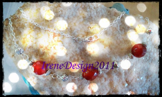 Handmade Silver Jewelry Set with Facetted Carnelian by IreneDesign2011