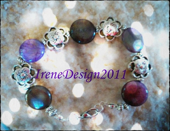 Handmade Silver Bracelet with Amethyst Coins & Flowers by IreneDesign2011
