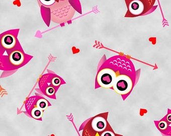 Loves All Around Owls Gray Fabric From Quilting Treasures