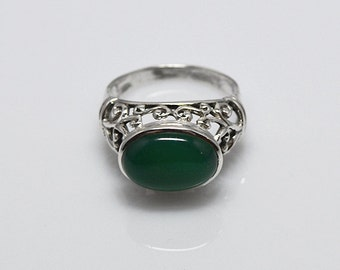 Onyx ring - Verde  - Green Onyx and 925 Silver ring