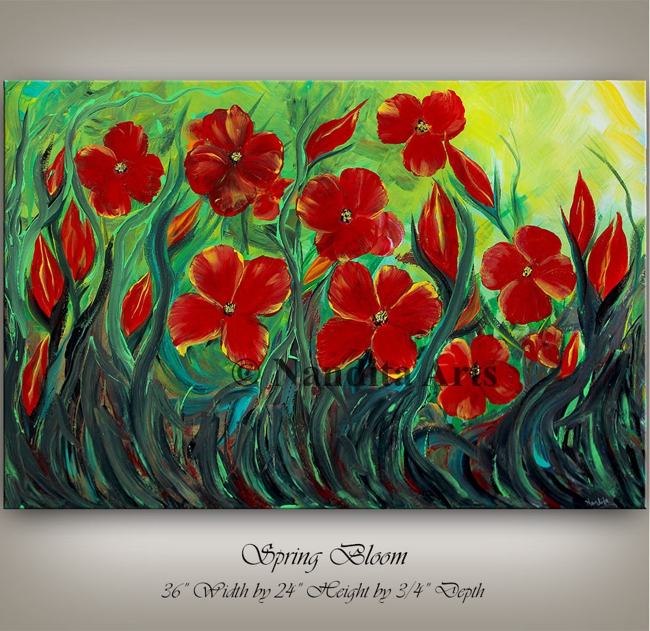 Wall Art Red Flower : Flower painting red wall decor