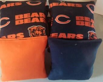 Chicago Bears team logo cornhole bags -- Set of 8 high quality made bags