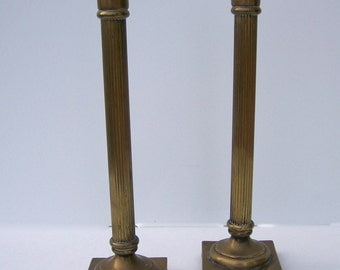 Solid Brass Candlestick Pair, Made in Portugal