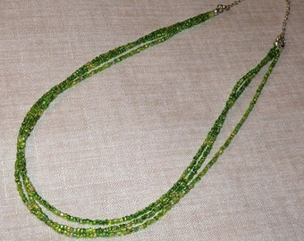Lime Green Triple Strand Necklace