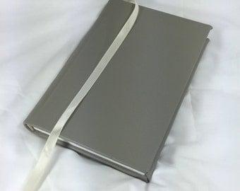 Grey Leather Hardbound Diary, Handbound Journal, Travelling Journal, Artist's Sketchbook, Blank Notebook, Handsewn Book, Wedding Guest Book