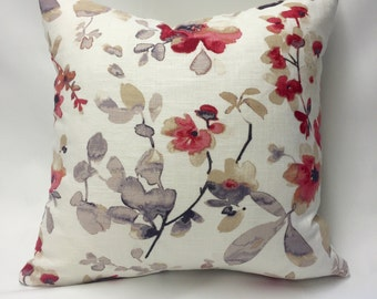 Red, Pink, and Purple Watercolor Flowers Decorative Pillow Cover
