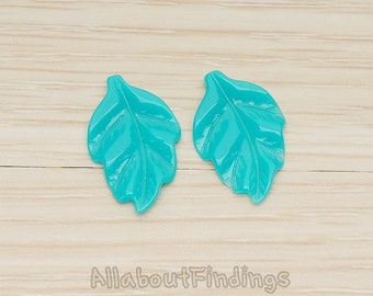 CBC05-TE // Teal Colored Simple Pressed Texture Leaf Flat Back Cabochon, 6 Pc