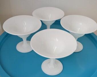 MILKGLASS CHAMPAGNE GLASSES Set of Four Dessert Pedestal Dishes