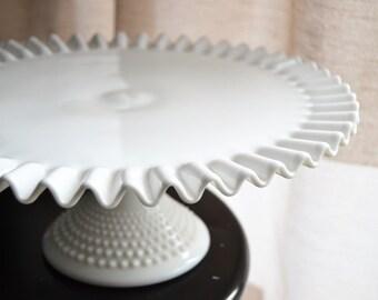 PEDESTAL CAKE Plate Hobnail Milkglass Large Serving Pedestal Cake Platter