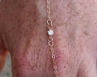 Slave Bracelet, Rose Gold Filled Slave Chain Bracelet with Two Rose Gold CZ, Rose Gold Bracelet, Simple Bracelet,  Minimalist Bracelet