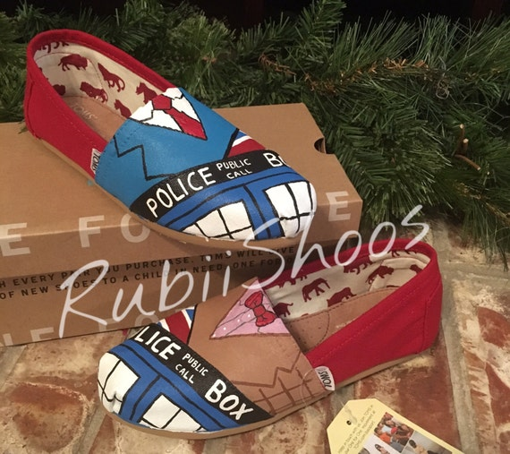 hand painted Doctor Who 10th 11th canvas shoes
