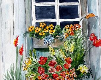 FLOWER WINDOW BOX - Original Watercolor, Garden Flowers, Window Art, Window Box, Flower Window Box, Watercolor Painting, Watercolor Art